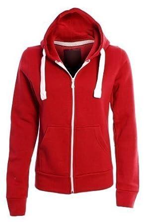 New Ladies Hoodie Plain Solid One Colour Hooded Zip Top Pocket Sweatshirt Women - M / 10 - Red