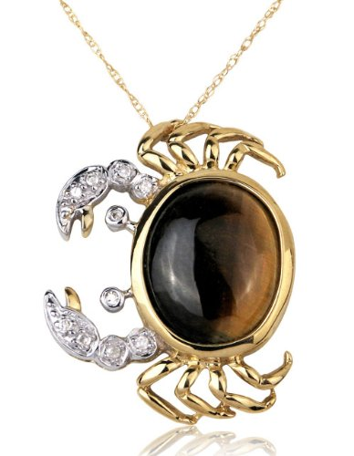 10K Yellow Gold Tiger-eye and Diamond Cancer Zodiac Crab Pendant