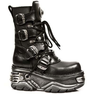 New Rock Metallic Boots Unisex - Black - Euro 37