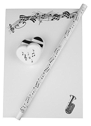 Notizblock-mit-Bleistift-und-Radiergummi-Tuba-Schnes-Geschenk-fr-Musiker