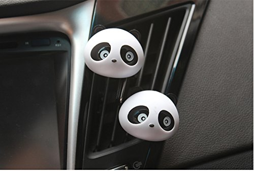 Dealglad® 2pcs Cute Panda Car Auto Vent Outlet Air Freshener Perfume Fragrance Flavour Diffuser Air Cleaner (black) Image