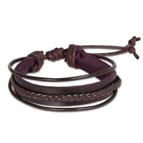 SilberDream Leather Bracelet brown with Knurlings fits sizes greater than 7'' Men Leather Bracelets genuine Leather LA1187