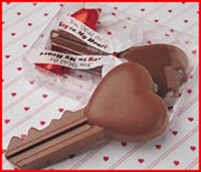 Solid Milk Chocolate Key To My Heart Unique Novelty Gourmet Candy Gift Boxed Key For Adults , Children & Lovers