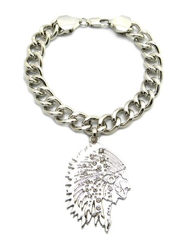 """Native American Chief Pendant 10Mm 7"""" Link Chain Bracelet In Silver-Tone"""