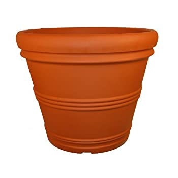 Rolled Rim Pot, Round, Terra Cotta, 30-Inch