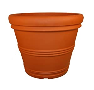Tusco Products T30 Rolled Rim Pot, Round, Terra Cotta, 30-Inch