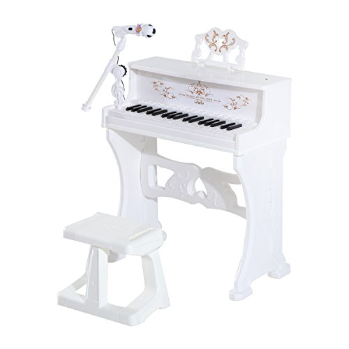 Qaba-Kids-37-Key-Lovely-Princess-Electronic-Piano-Keyboard-with-Stool-and-Microphone-White