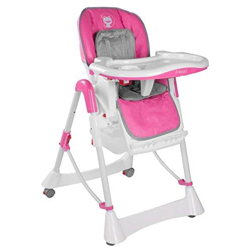 Froggy-Baby-Kinder-Hochstuhl-mit-Sicherheitsgurt-und-Groem-Esstisch-Hhenverstellbar-Zusammenklappbar-Pink