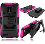 VMG 3-In-1 Combo for ZTE Warp 4G (Boost Mobile) Cell Phone Hybrid PC+Silicone Built-In Kickstand Case with Compatible Belt Clip Holster Cover - Pink + LCD Clear Screen Saver Protector