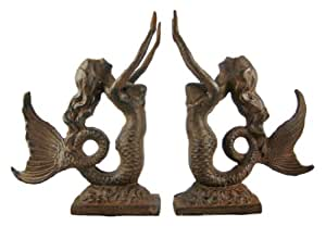 Cast Iron Mermaid Bookends Book Ends Antiqued Finish