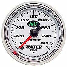 Auto Meter 7355 NV 2-1/16&#034; 100-260 F Full Sweep Electric Water Temperature Gauge