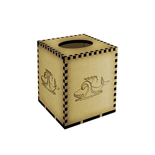 Square Whale & Wave Engraved Wooden Tissue Box Cover (TB00004451)