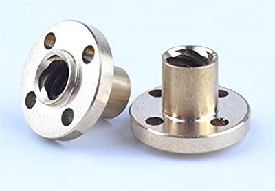 2 x Brass Flange Trapezoidal Bronze Nut For 3D Printer Z Axis Lead Screw 8mm Model: