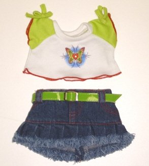 "Butterfly T-shirt & Skirt Outfit fits Webkinz, Shining Star and 8"" - 10"" Make Your Own Stuffed Animals"