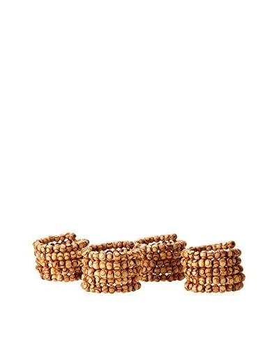 KAF Home Set of 4 Wooden Bead Napkin Rings, Natural