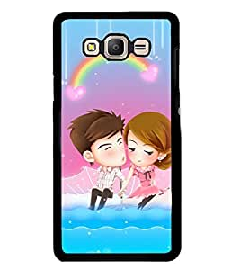Printvisa Animated Romantic Couple With A Rainbow Background Back Case Cover for Samsung Galaxy On7::Samsung Galaxy On7 G600FY