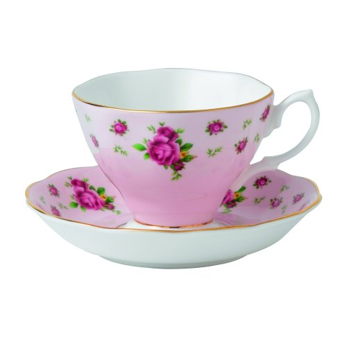 Royal Albert New Country Roses Formal Vintage Boxed Teacup And Saucer Set, Pink
