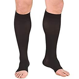 Truform 0865, Compression Stockings, Below Knee, Open Toe, 20-30 mmHg, Black, Large