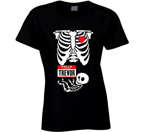 [Baby Trevor Cute Halloween Custom Nametag Skeleton Costume T Shirt 2XL Black] (Trevor Halloween Costume)