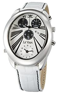 Le Vian Men's ZAG 93 Duo Chronograph White Leather Watch by Le Vian