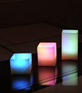 "Stunning New ""VARIATIONS"" 3 Piece Set by Illumina Lighting. Upscale Square Design Multi-Color Flameless Candles With Remote Control"