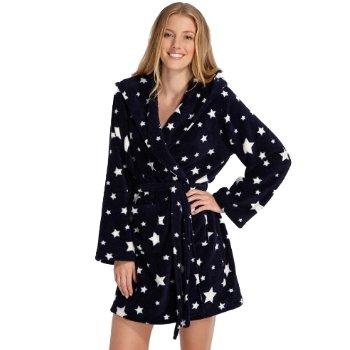 LADIES LA-SENZA NAVY STARS DRESSING GOWN HOODED FLEECE WOMENS ROBE ALL SIZES