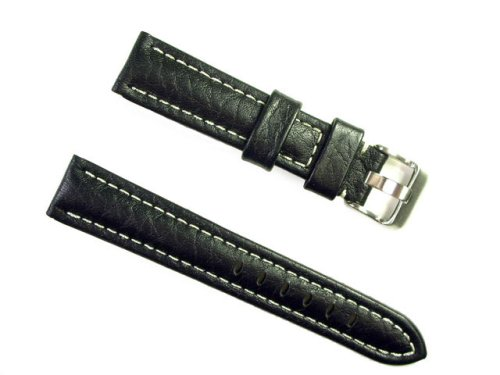 BANDA WYOMING BUFFALO LEATHER CHRONOGRAPH SPORT PANERAI BREITLING WATCH BAND STYLE DESIGN-REAL ITALIAN CALF LEATHER-18 mm BLACK COLOR