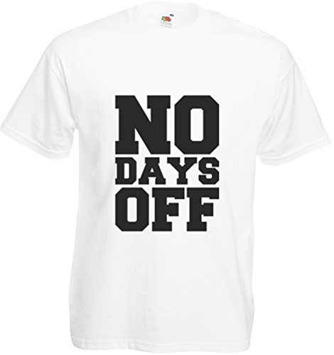 No Days Off (Alternate), Adults Printed T-Shirt - White/Black S front-833452