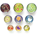 Quartet Push Pin with Assortment of Floral Design (Pack of 9)