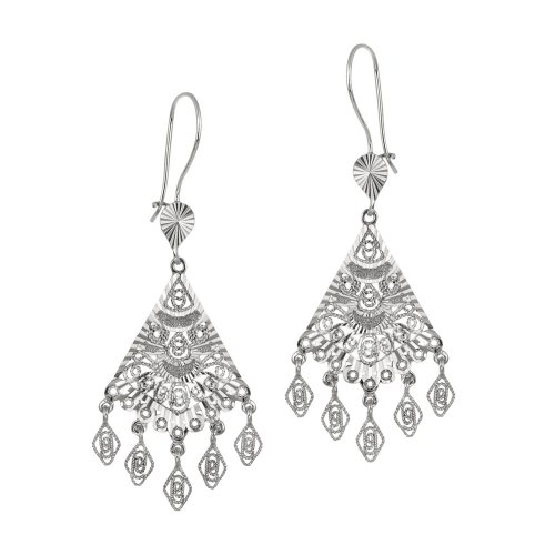 Sterling Silver Large Filigree Fan Drop on Sheppard's Hook Earrings
