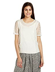 Fusion Beats Women's Body Blouse Top (E515TOPS06M WHITE_XL)