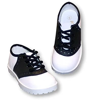 toddler saddle shoes in black and white