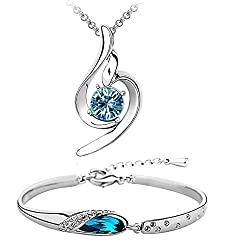 Om Jewells Combo Of Platinum Plated Adjustable Kadaa Bracelet And Pendant With Blue Crystal For Women , Co1000022