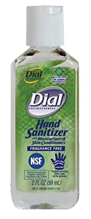 Dial 911271 Fragrance Free Antibacterial Instant Hand Sanitizer Gel with Flip Top Cap, 2oz Bottle (Pack of 24)