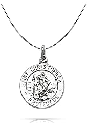 Bling Jewelry Mens 925 Silver St Christopher Medal Charm Pendant Necklace 18in