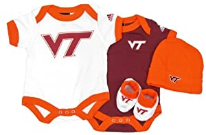 adidas Virginia Tech Hokies 4 Piece Newborn Gift Set by adidas