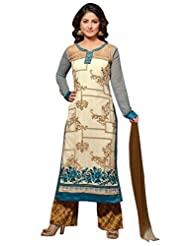 Mastani Kreation Front- Off White Back- Light Sea Green Georgette Dress Material