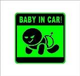 Amazon.co.jpBABY IN CAR 不敵な笑み赤ん坊 緑 カッティングステッカー ウォールステッカー