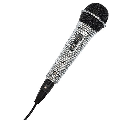 Silver Crystal Rhinestone Karaoke Dj Microphone With On/Off Switch And Xlr Cord