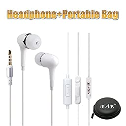 Wietus 760 3.5mm Stereo In-Ear Noise-Isolating Headphones with Mic+ Portable Mini Round Hard Storage Case Bag for iPhones, iPods and iPads, Android Devices - White