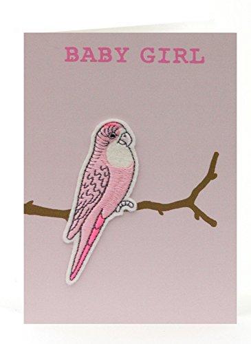 Petra Boase Baby Girl Budgie Applique Card front-506886