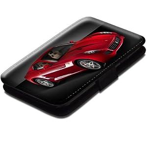 Voitures 10040, Sport Car, Etui Personnalisé Coque Housse Cover Coquille en Cuir Noir avec Dessin Coloré pour Samsung Galaxy S3 i8190 Mini.