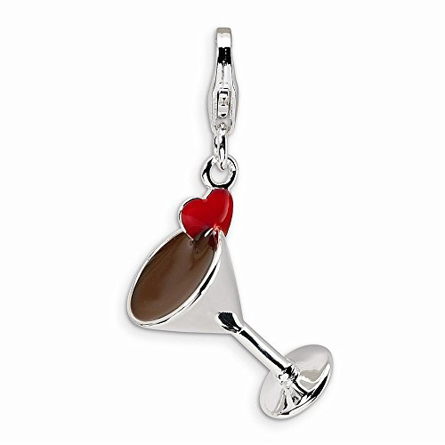 Sterling Silver 3-D Enameled Martini Glass w/Lobster Clasp Charm