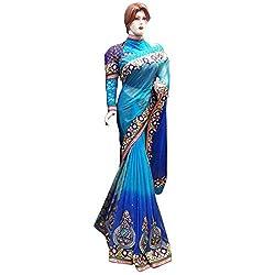 Blue Designer gorgette With Embroidered lehenga Saree.