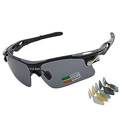 Sports Sunglasses L V X ING LVX548 Mens Polarized Sunglasses Mens Glasses Exchangeable 5 UV400 Lenses Cycling Hiking Running Outdoor Sunglasses Upgraded Design LVX548-Black