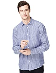 Blue Harbour Pure Linen Striped Shirt