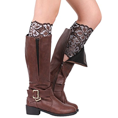 DEESEE(TM) Women Stretch Lace Boot Leg Cuffs Soft Laced Boot Socks (Silver) (Silver Blue Rain Boots compare prices)
