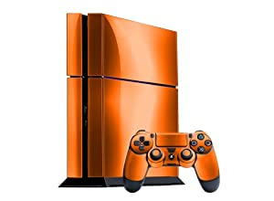 Sony PlayStation 4 Skin (PS4) - - ORANGE CHROME MIRROR system skins faceplate decal mod