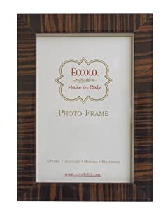 Eccolo Made In Italy Zebra Wenge Wood Frame, Holds a 5 x 7-Inch Photo