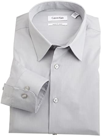 Calvin Klein Men's Regular Fit Stretch Herringbone Dress Shirt, Oyster, 15 34-35